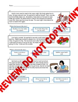 1st Grade CCSS Central Message and Lessons Assessment