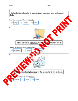 1st Grade CCSS Context Clues Assessment