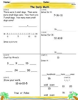 1st Grade CCSS Daily Review Freebie