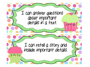 "1st Grade CCSS ELA ""I Can"" Statements (Cupcake Themed)"