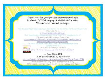 """1st Grade CCSS ELA """"I Can"""" Statements (Scribble Theme)"""
