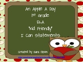 "1st Grade CCSS ELA Kid Friendly ""I Can"" Statements (Apple Theme)"