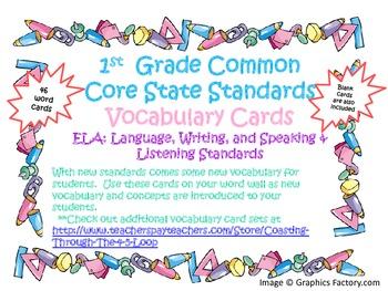 1st Grade CCSS ELA Vocabulary Cards