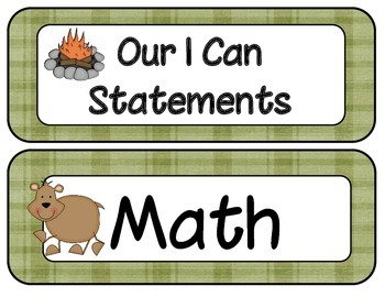 1st Grade Common Core ELA and Math I Can Statements Camping Theme