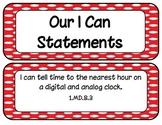 1st Grade CCSS ELA and Math I Can Statements Polk-a-dot Th
