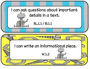 1st Grade CCSS ELA and Math I Can Statements Robot Theme