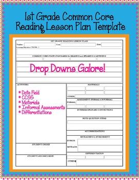 1st Grade CCSS Lesson Plan Template