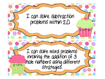 """1st Grade CCSS Math """"I Can"""" Statements (Cupcake Themed)"""