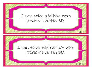 "1st Grade CCSS Math ""I Can"" Statements (Scribble Theme)"