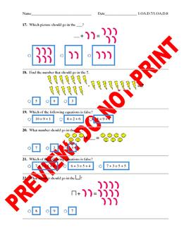 1st Grade CCSS Math Number Sentences Assessment Bank