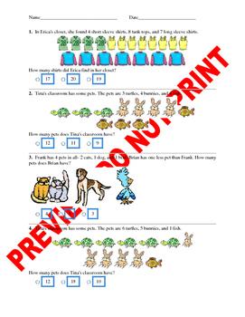 1st Grade CCSS Math Real World Problems Assessment Bank