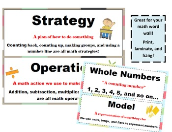 1st Grade CCSS Math Vocabulary Word Wall Cards Bulletin Board/Math Centers