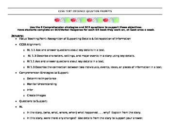 CCSS Question Prompts: 1st Grade