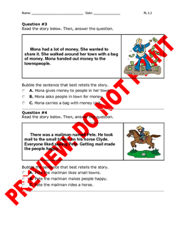 1st Grade CCSS RL.1.2 Assessment (Central Messages/Morals & Lessons)