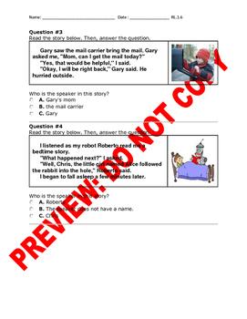 1st Grade CCSS RL.1.6 Narration Assessment
