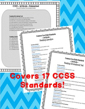 1st Grade CCSS Aligned Reading Standards Worksheets