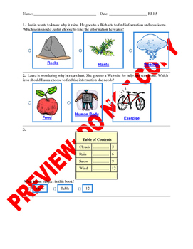 1st Grade CCSS Text Feature Assessment