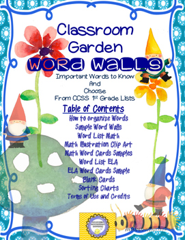 1st Grade CCSS Gnome Vocabulary Wall STARTER-- Word Lists Included!