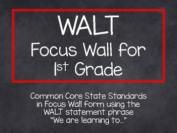 1st Grade CCSS WALT Statement Focus Wall-Rainbow