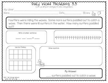 1st Grade Word Problems  (Add to: Change Unknown)