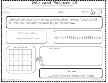 1st Grade CCSS Word Problems  (Take From: Result Unknown)