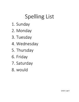1st Grade CKLA Unit 4 Spelling Homework