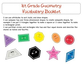 1st Grade Common Geometry Vocabulary Booklet
