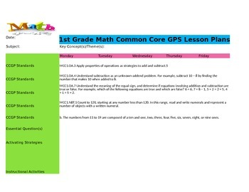 TKES 1st Grade COMMON CORE Lesson Plan Template-ELA and Math