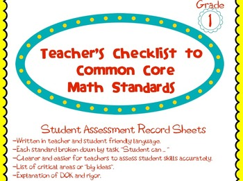 1st Grade Common Core Math Standards Guide and Assessment