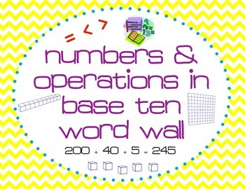 1st Grade Common Core Numbers & Operations in Base Ten Voc