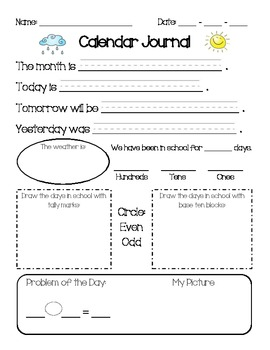 st grade calendar math journal by savannah hadwiger  tpt