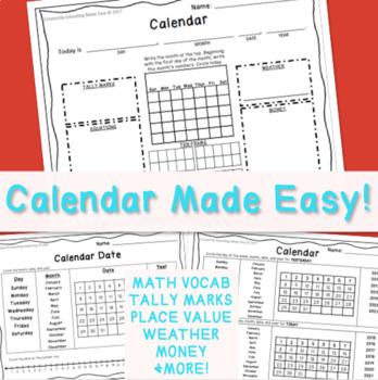1st Grade Calendar Math Page: Easy to Follow