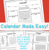 1st Grade Math Calendar Pages