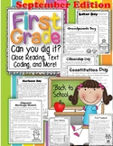 """1st Grade Can U Dig It"" September Close Reading Leveled Passages & Activities"