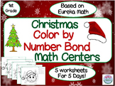 1st Grade Christmas Color by Number Bond Math Centers. Based on Eureka Math