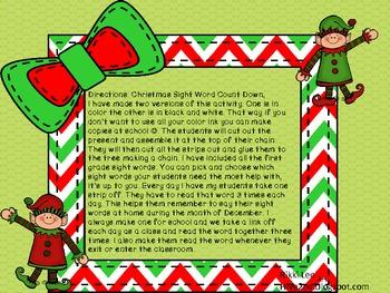 1st Grade Christmas Sight Word Countdown