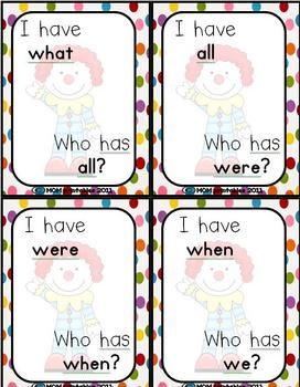 1st Grade Circus sight word game