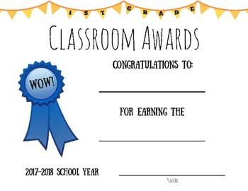 1st Grade Classroom Awards Certificate '17-'18