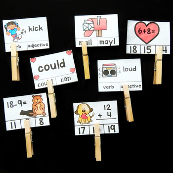 1st Grade Clip Cards - February