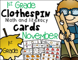 1st Grade Clip Cards - November
