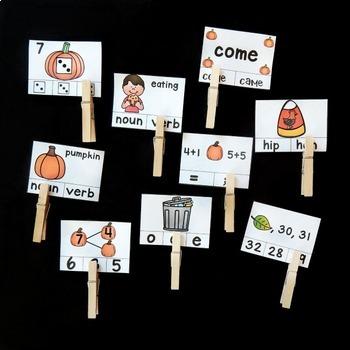 1st Grade Clip Cards - October