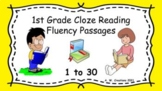 1st Grade Cloze Reading Fluency Passages - Sets 1 to 30 (G