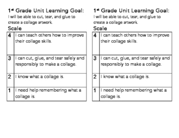 1st Grade Collage Learning Goal and Scale
