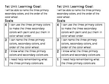 1st Grade Color Learning Goal and Scale