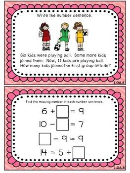 1st Grade Common Core Aligned Math Task Cards