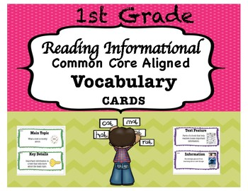 1st Grade (Common Core Aligned) Reading Informational Vocabulary Cards