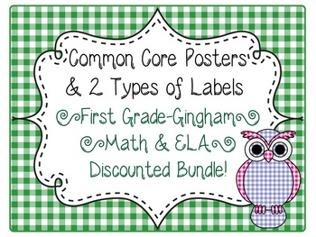 1st Grade Common Core CCSS Labels and Posters Math and ELA-Gingham