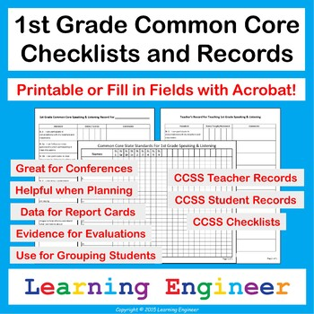 1st Grade Checklists for Common Core ELA and Math Learning Targets