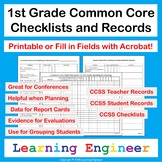 1st Grade Checklists: Common Core