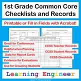 1st Grade Checklist | Data Tracking | Quick Check | Common